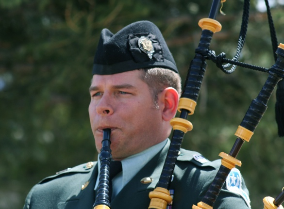 Playing Bag Pipes during the NYC St. Patrick's Day Parade
