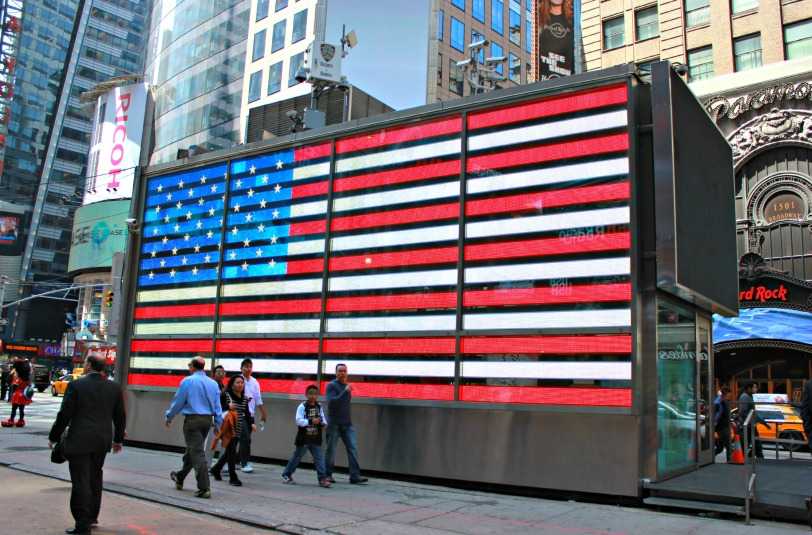 memorial day, times square, flag