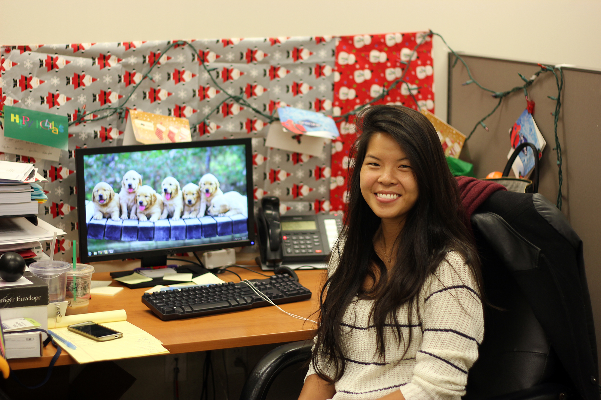 Christmas Decorations Office Kims Despite Nearly Being Her Desk Proudly Decked Out Bringing